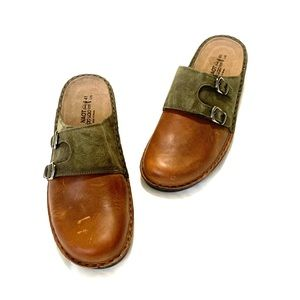 NAOT olive green and brown slide on clogs
